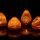 Translucent candle lamps at night